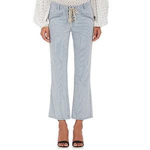 ULLA JOHNSON ticking stripe Patria cropped jeans